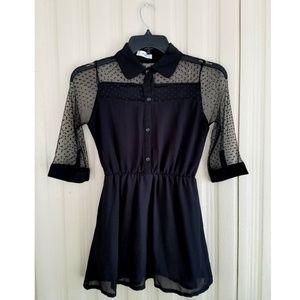 Black Mini Dress or Tunic Junior Small Lace 3/4